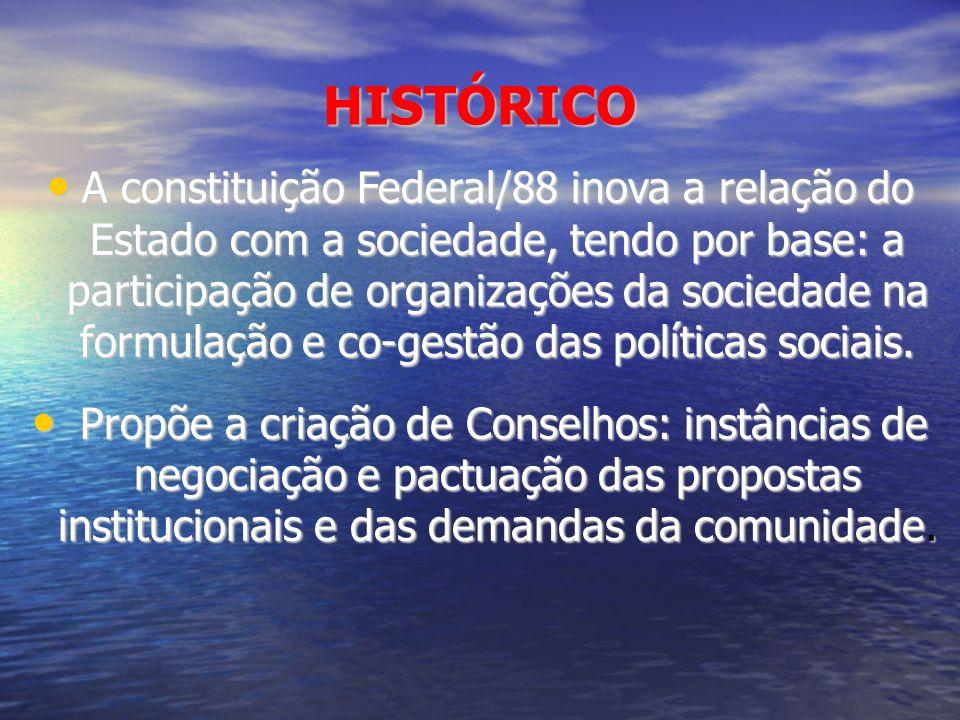 HISTÓRICO A constituição Federal/88 inova a relação do Estado com a sociedade, tendo por base: a participação de organizações da sociedade na formulaç