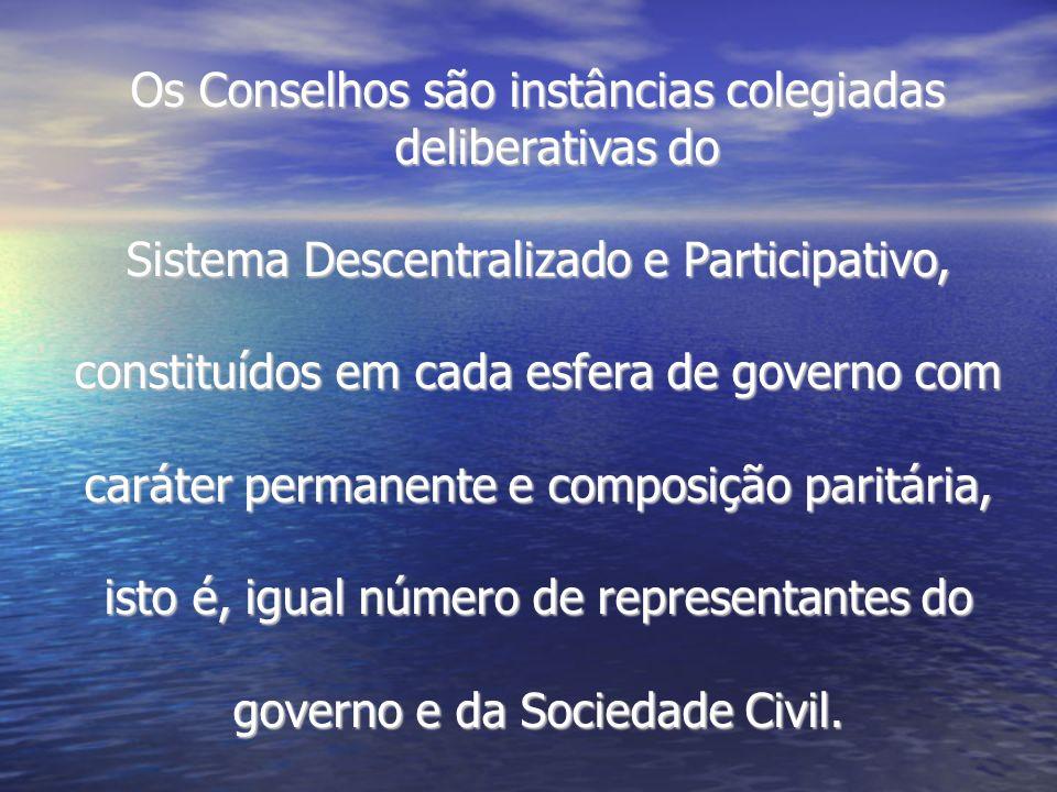 Os Conselhos são instâncias colegiadas deliberativas do Sistema Descentralizado e Participativo, constituídos em cada esfera de governo com caráter pe