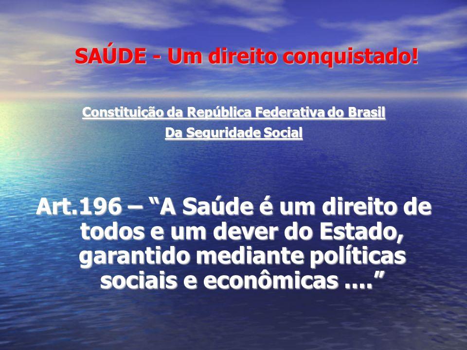 SAÚDE - Um direito conquistado! SAÚDE - Um direito conquistado! Constituição da República Federativa do Brasil Da Seguridade Social Art.196 – A Saúde