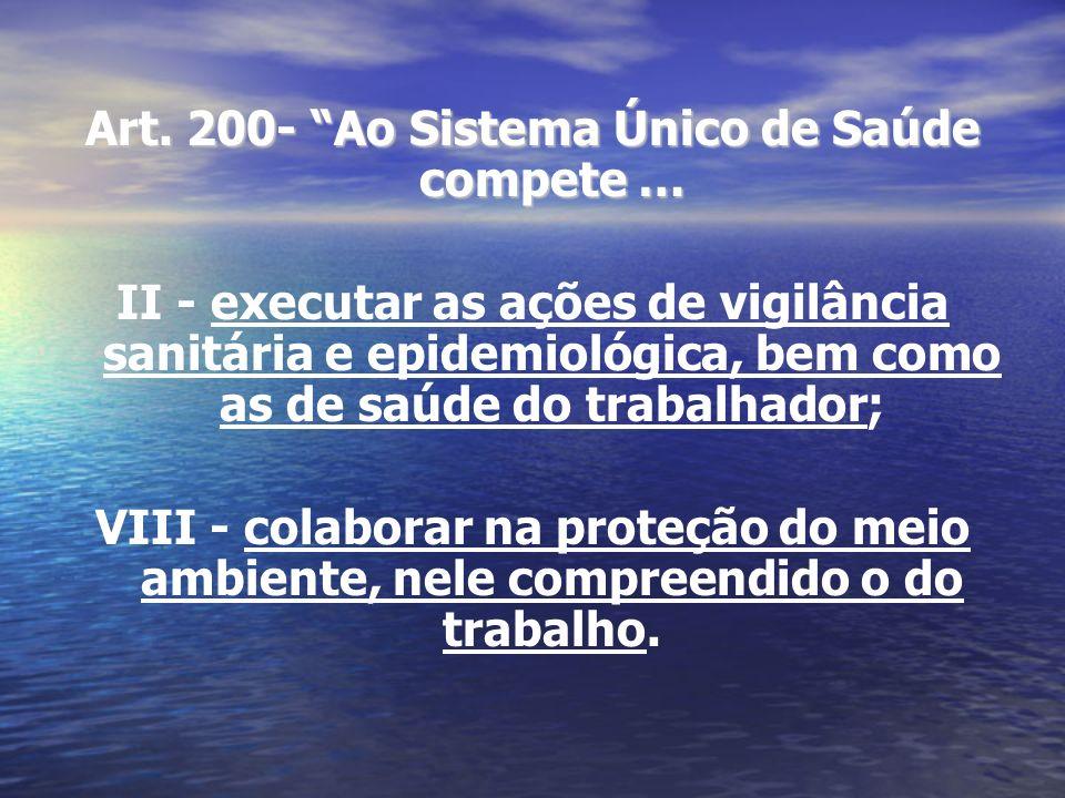 Art. 200- Ao Sistema Único de Saúde compete … II - executar as ações de vigilância sanitária e epidemiológica, bem como as de saúde do trabalhador; VI