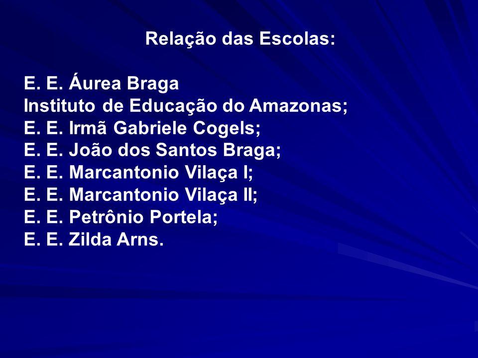Relação das Escolas: E. E. Áurea Braga Instituto de Educação do Amazonas; E. E. Irmã Gabriele Cogels; E. E. João dos Santos Braga; E. E. Marcantonio V