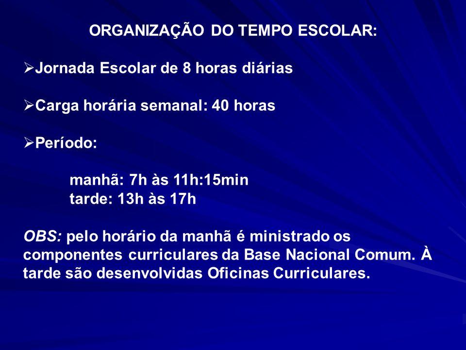 ORGANIZAÇÃO DO TEMPO ESCOLAR: Jornada Escolar de 8 horas diárias Carga horária semanal: 40 horas Período: manhã: 7h às 11h:15min tarde: 13h às 17h OBS