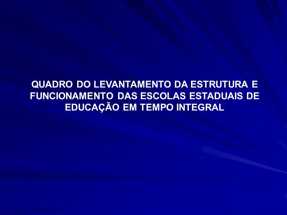 QUADRO DO LEVANTAMENTO DA ESTRUTURA E FUNCIONAMENTO DAS ESCOLAS ESTADUAIS DE EDUCAÇÃO EM TEMPO INTEGRAL