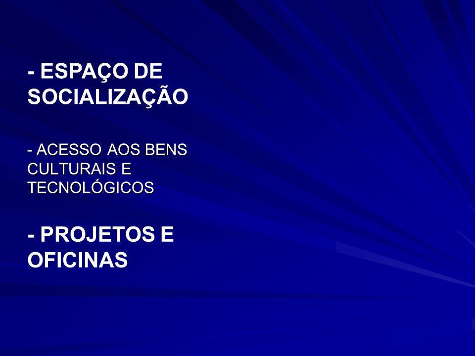 - ESPAÇO DE SOCIALIZAÇÃO - ACESSO AOS BENS CULTURAIS E TECNOLÓGICOS - PROJETOS E OFICINAS