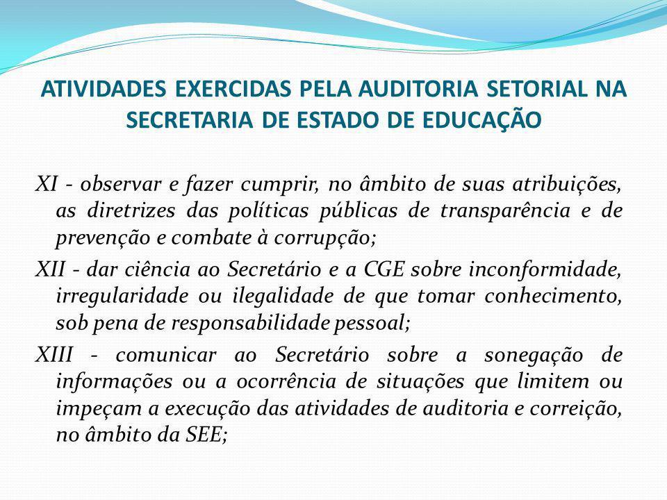 ATIVIDADES EXERCIDAS PELA AUDITORIA SETORIAL NA SECRETARIA DE ESTADO DE EDUCAÇÃO XI - observar e fazer cumprir, no âmbito de suas atribuições, as dire