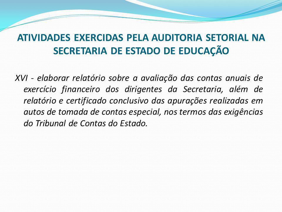 ATIVIDADES EXERCIDAS PELA AUDITORIA SETORIAL NA SECRETARIA DE ESTADO DE EDUCAÇÃO XVI - elaborar relatório sobre a avaliação das contas anuais de exerc