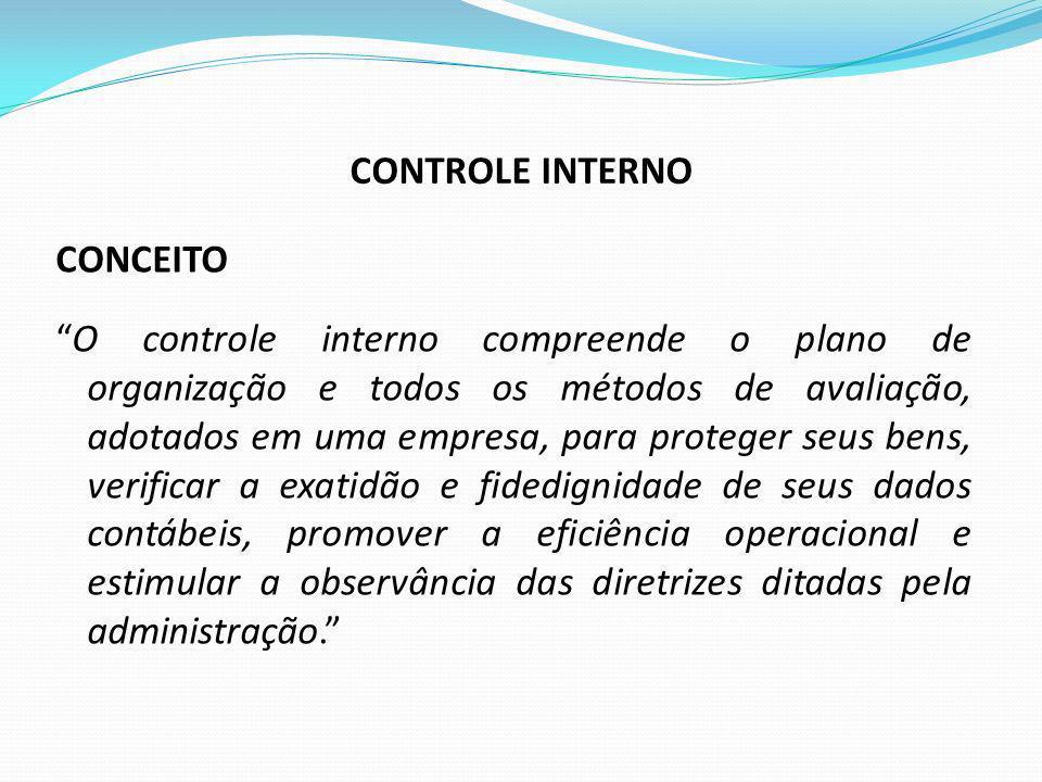 CONCEITO O controle interno compreende o plano de organização e todos os métodos de avaliação, adotados em uma empresa, para proteger seus bens, verif