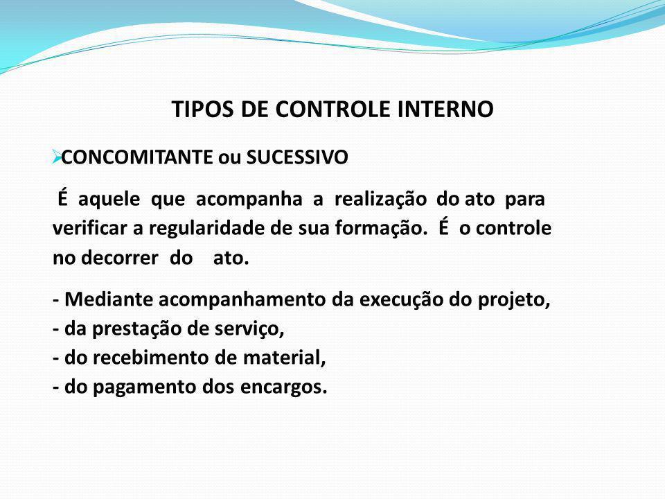 TIPOS DE CONTROLE INTERNO CONCOMITANTE ou SUCESSIVO É aquele que acompanha a realização do ato para verificar a regularidade de sua formação. É o cont