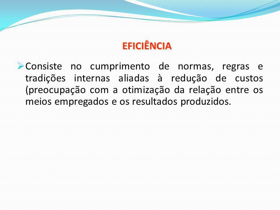 EFICIÊNCIA Consiste no cumprimento de normas, regras e tradições internas aliadas à redução de custos (preocupação com a otimização da relação entre o