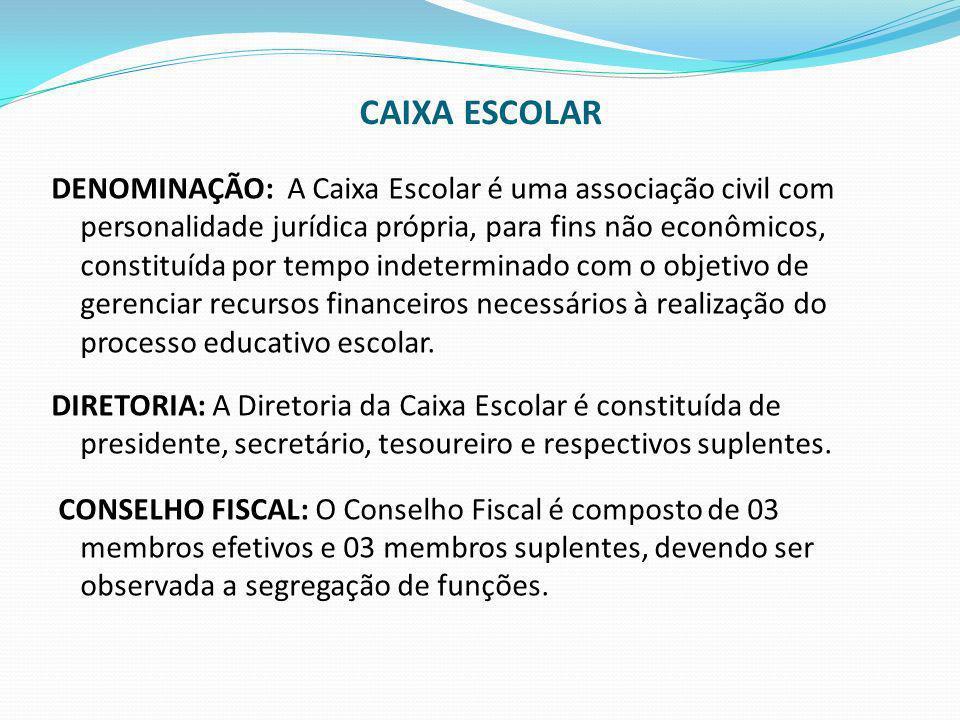 CAIXA ESCOLAR DENOMINAÇÃO: A Caixa Escolar é uma associação civil com personalidade jurídica própria, para fins não econômicos, constituída por tempo