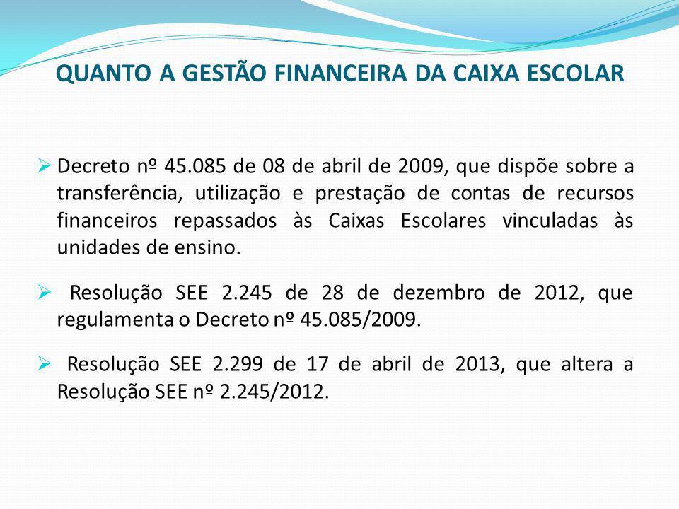 QUANTO A GESTÃO FINANCEIRA DA CAIXA ESCOLAR Decreto nº 45.085 de 08 de abril de 2009, que dispõe sobre a transferência, utilização e prestação de cont