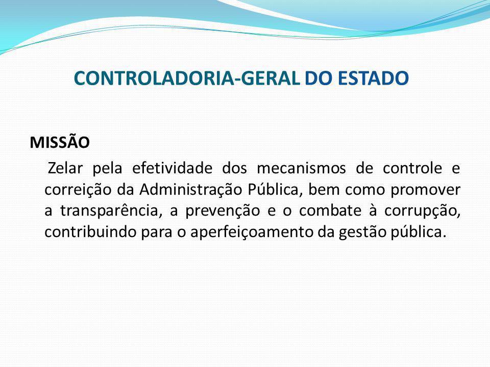 MISSÃO Zelar pela efetividade dos mecanismos de controle e correição da Administração Pública, bem como promover a transparência, a prevenção e o comb