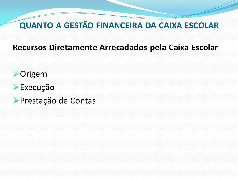 QUANTO A GESTÃO FINANCEIRA DA CAIXA ESCOLAR Recursos Diretamente Arrecadados pela Caixa Escolar Origem Execução Prestação de Contas