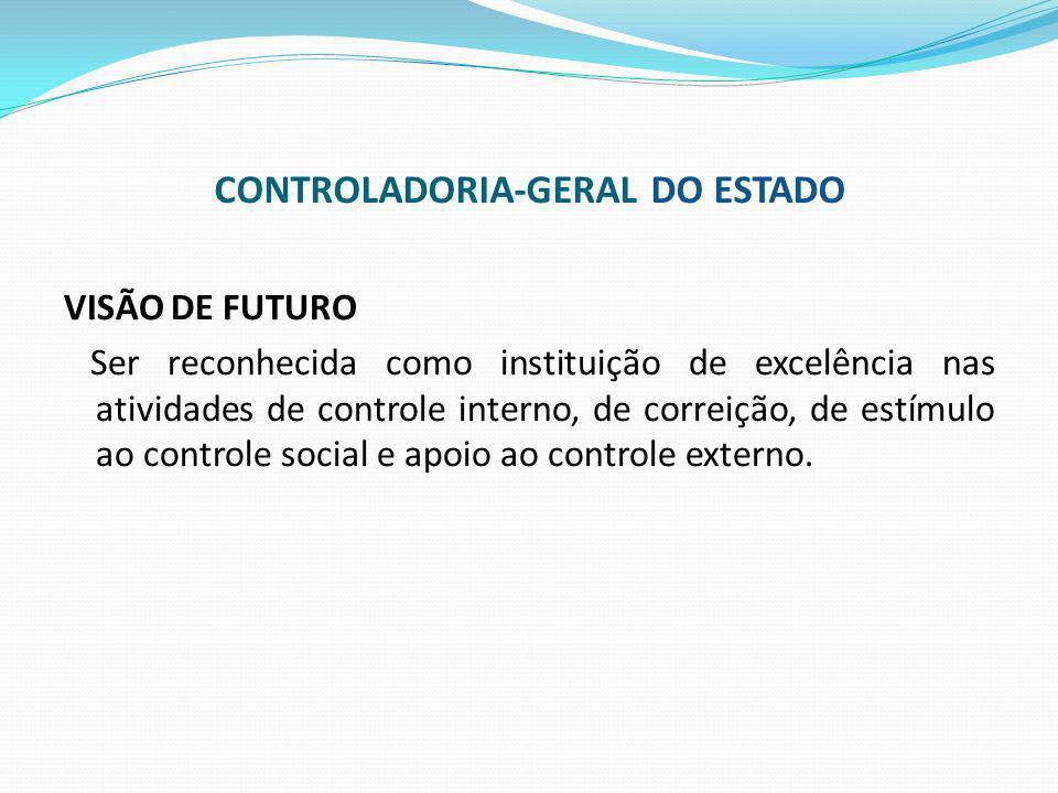 VISÃO DE FUTURO Ser reconhecida como instituição de excelência nas atividades de controle interno, de correição, de estímulo ao controle social e apoi