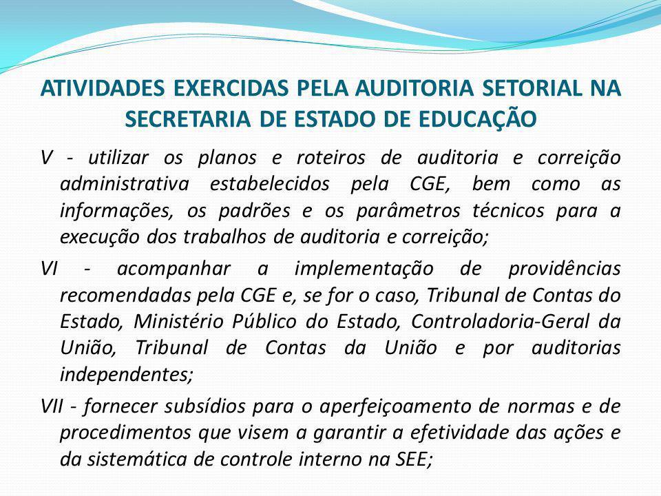 ATIVIDADES EXERCIDAS PELA AUDITORIA SETORIAL NA SECRETARIA DE ESTADO DE EDUCAÇÃO V - utilizar os planos e roteiros de auditoria e correição administra