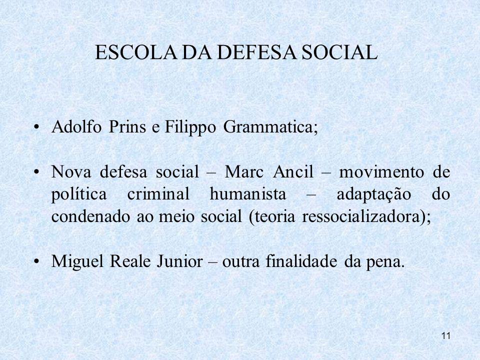 11 Adolfo Prins e Filippo Grammatica; Nova defesa social – Marc Ancil – movimento de política criminal humanista – adaptação do condenado ao meio soci