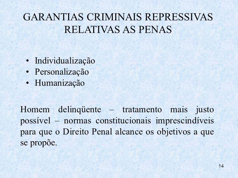 14 Homem delinqüente – tratamento mais justo possível – normas constitucionais imprescindíveis para que o Direito Penal alcance os objetivos a que se