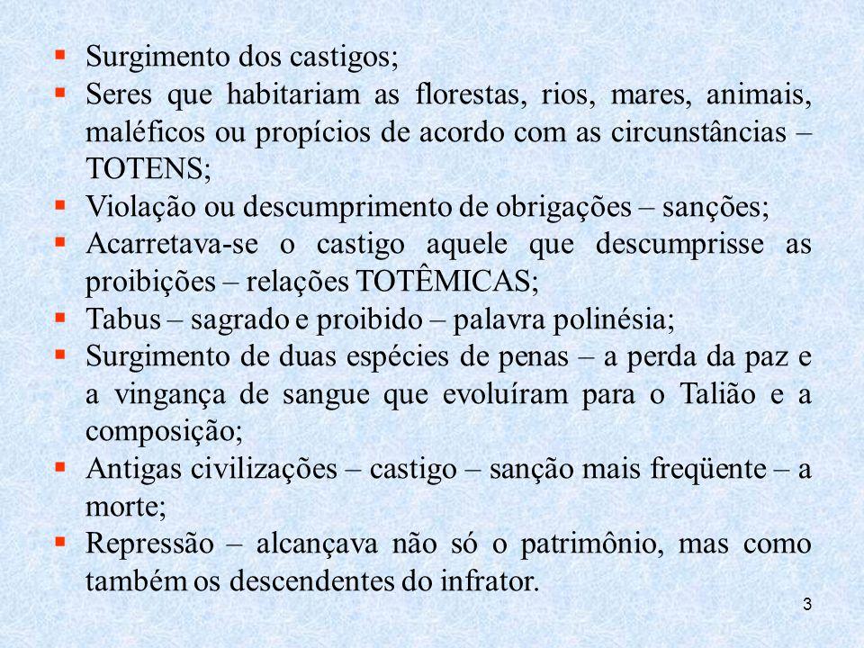 4 GRÉCIA ANTIGA – IMPÉRIO ROMANO Pena capital; Sanções de desterros, açoites, castigos; Mutilações, suplícios em geral; Sêneca – pena – finalidade superior – defesa do Estado – prevenção geral, correção do delinqüente.