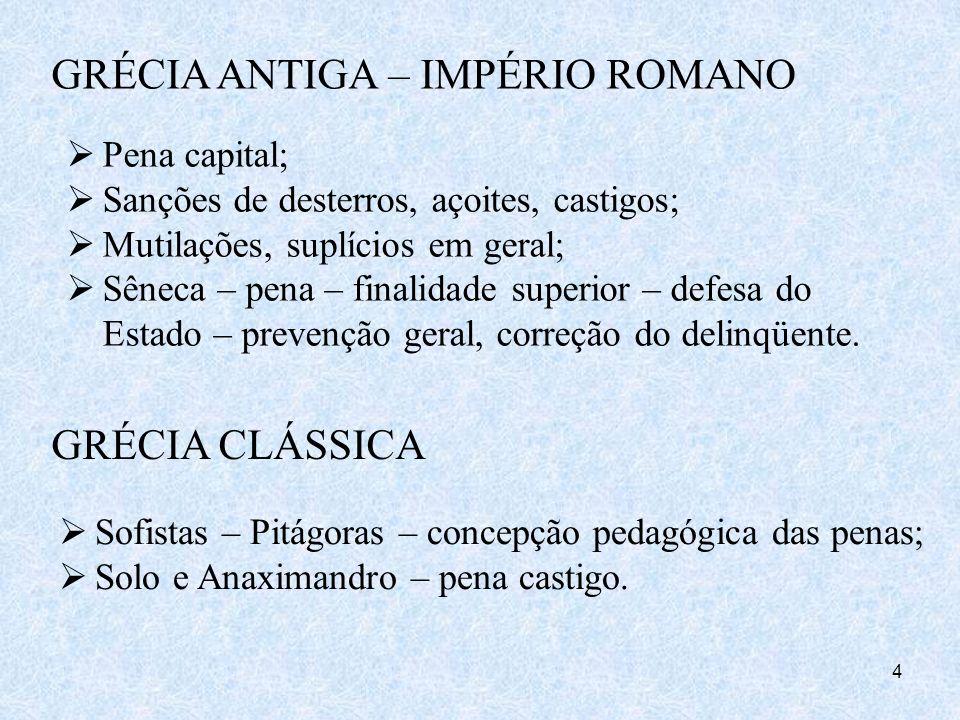 4 GRÉCIA ANTIGA – IMPÉRIO ROMANO Pena capital; Sanções de desterros, açoites, castigos; Mutilações, suplícios em geral; Sêneca – pena – finalidade sup