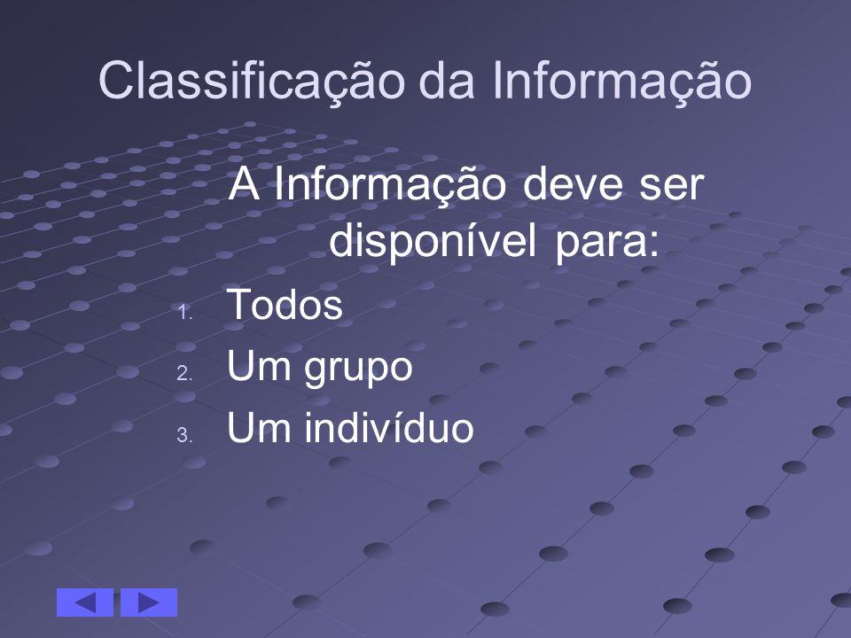 Classificação da Informação A Informação deve ser disponível para: 1. Todos 2. Um grupo 3. Um indivíduo