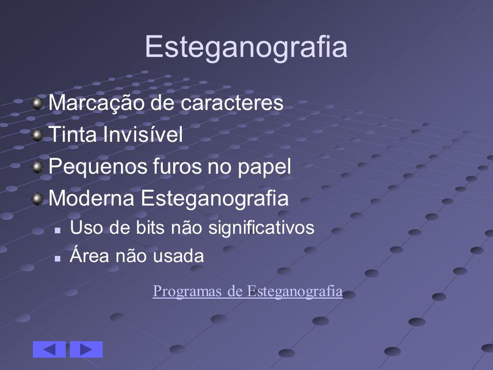 Esteganografia Marcação de caracteres Tinta Invisível Pequenos furos no papel Moderna Esteganografia Uso de bits não significativos Área não usada Pro