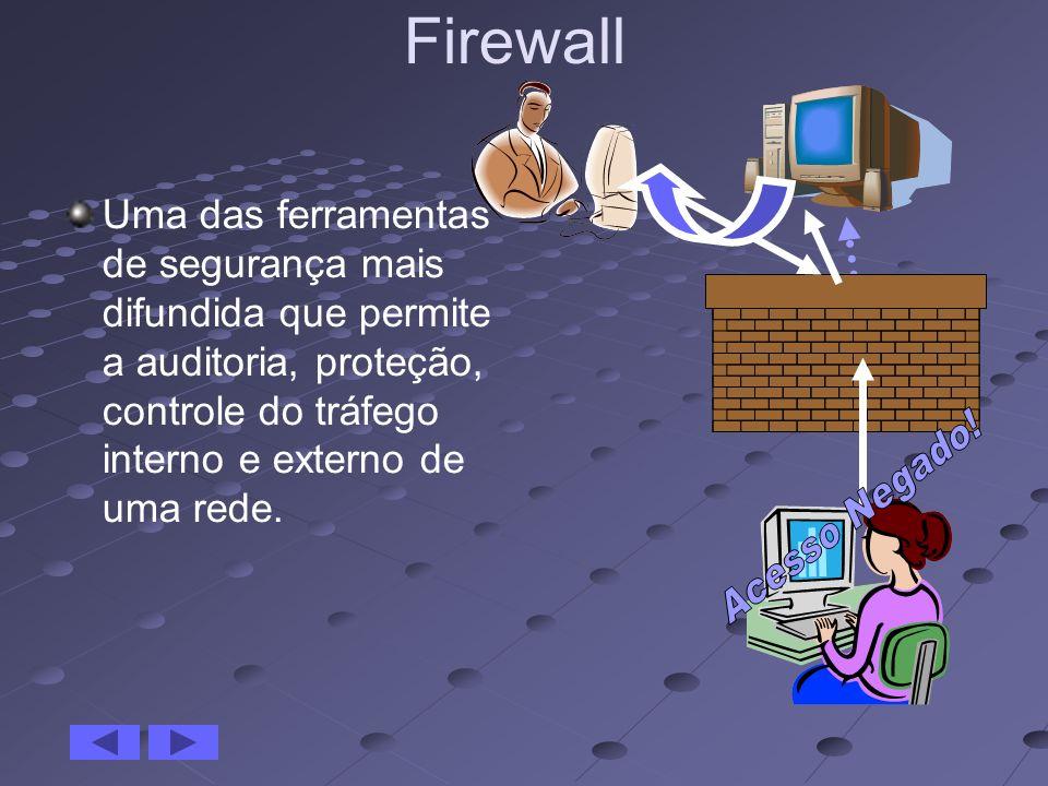 Firewall Uma das ferramentas de segurança mais difundida que permite a auditoria, proteção, controle do tráfego interno e externo de uma rede.
