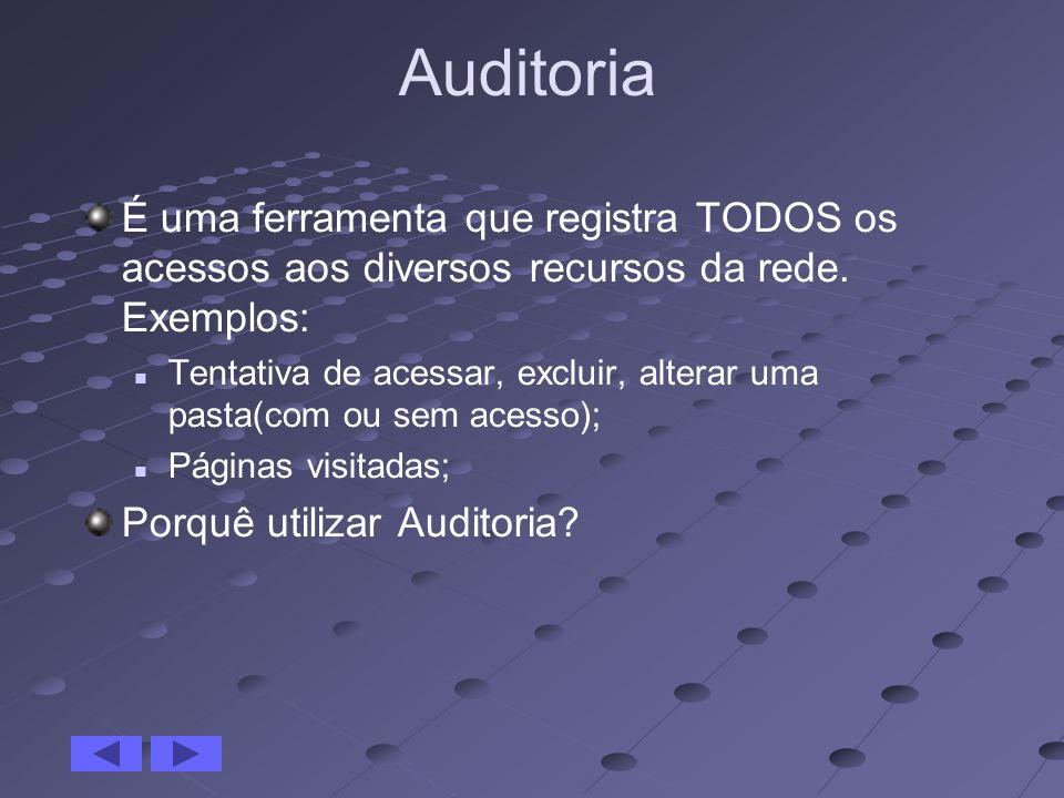 Auditoria É uma ferramenta que registra TODOS os acessos aos diversos recursos da rede. Exemplos: Tentativa de acessar, excluir, alterar uma pasta(com