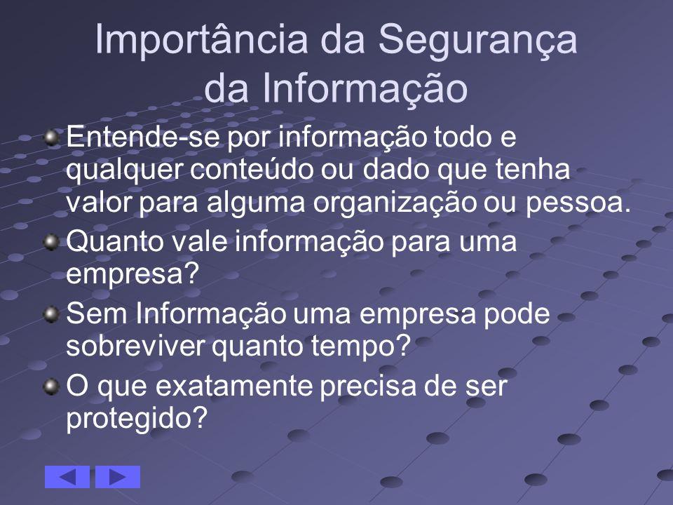Importância da Segurança da Informação Entende-se por informação todo e qualquer conteúdo ou dado que tenha valor para alguma organização ou pessoa. Q