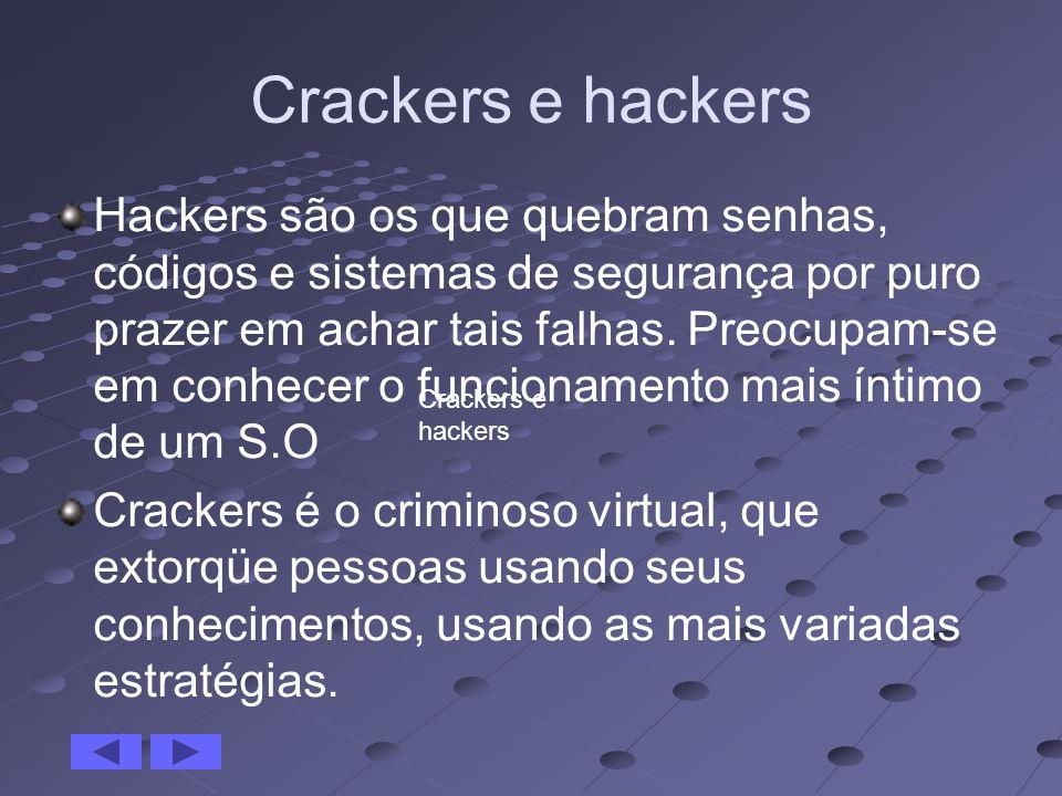 Crackers e hackers Hackers são os que quebram senhas, códigos e sistemas de segurança por puro prazer em achar tais falhas. Preocupam-se em conhecer o