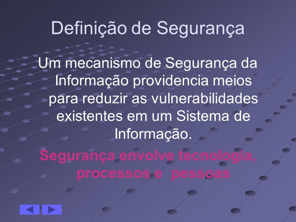 Definição de Segurança Um mecanismo de Segurança da Informação providencia meios para reduzir as vulnerabilidades existentes em um Sistema de Informaç