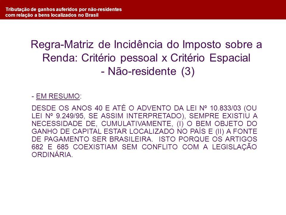 Tributação de ganhos auferidos por não-residentes com relação a bens localizados no Brasil - EM RESUMO: DESDE OS ANOS 40 E ATÉ O ADVENTO DA LEI Nº 10.