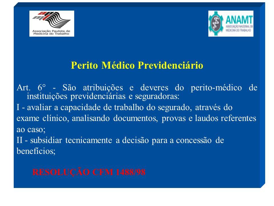 Perito Médico Previdenciário Art. 6° - São atribuições e deveres do perito-médico de instituições previdenciárias e seguradoras: I - avaliar a capacid