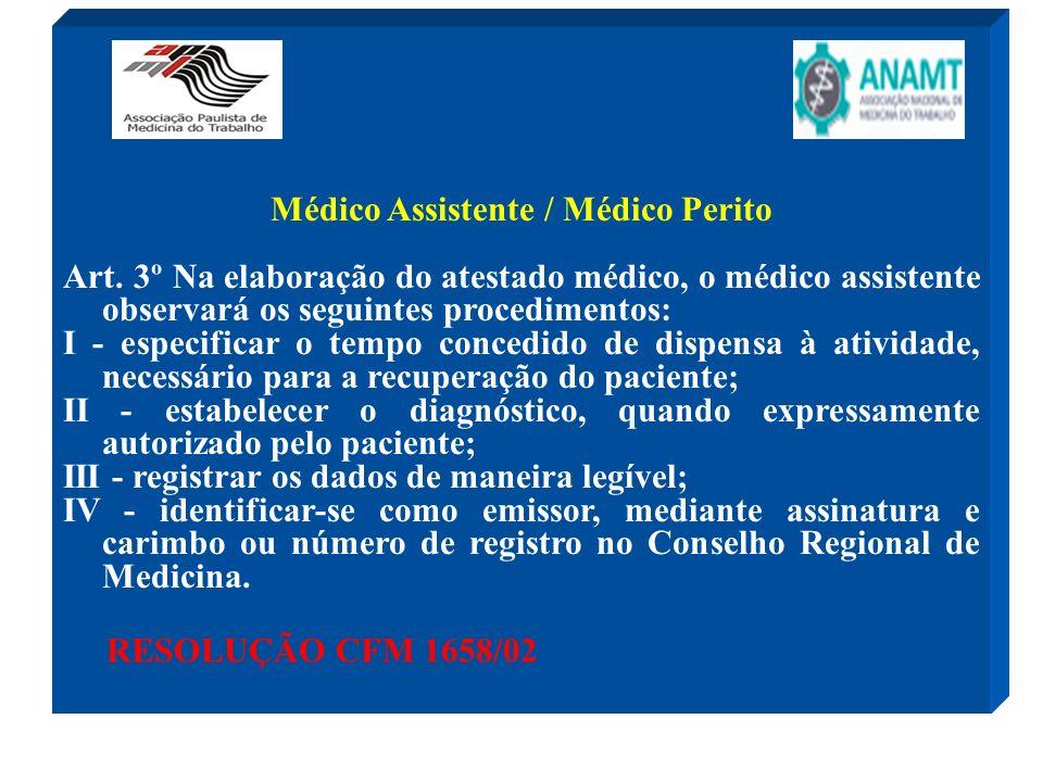 Médico Assistente / Médico Perito Art. 3º Na elaboração do atestado médico, o médico assistente observará os seguintes procedimentos: I - especificar