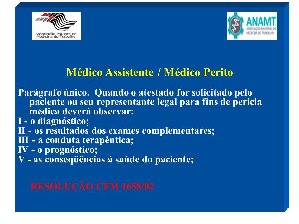 Médico Assistente / Médico Perito Parágrafo único. Quando o atestado for solicitado pelo paciente ou seu representante legal para fins de perícia médi