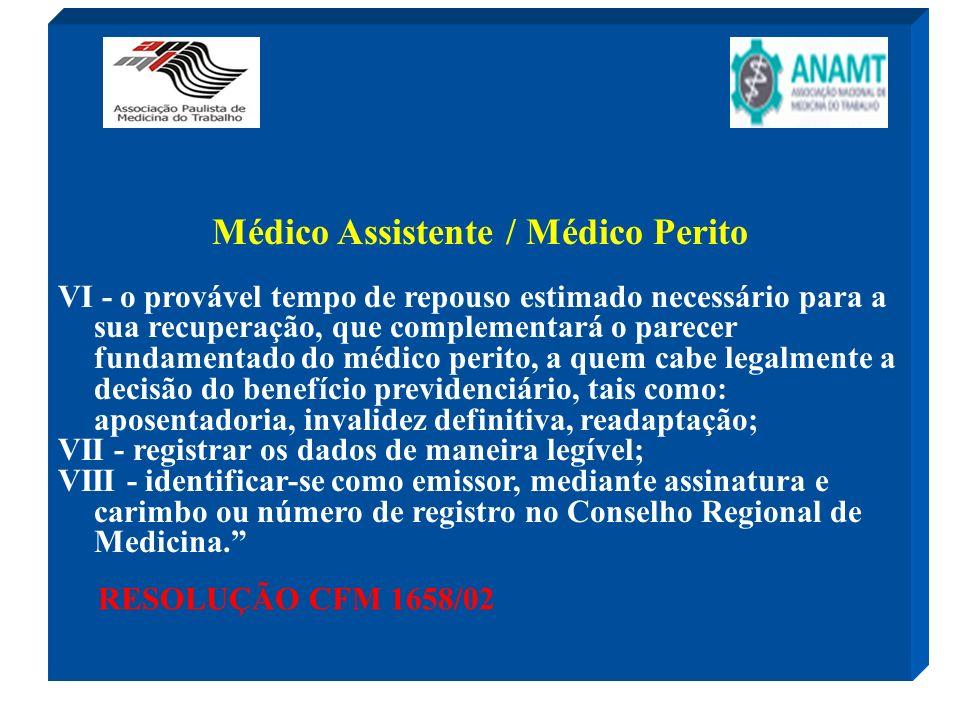 Médico Assistente / Médico Perito VI - o provável tempo de repouso estimado necessário para a sua recuperação, que complementará o parecer fundamentad