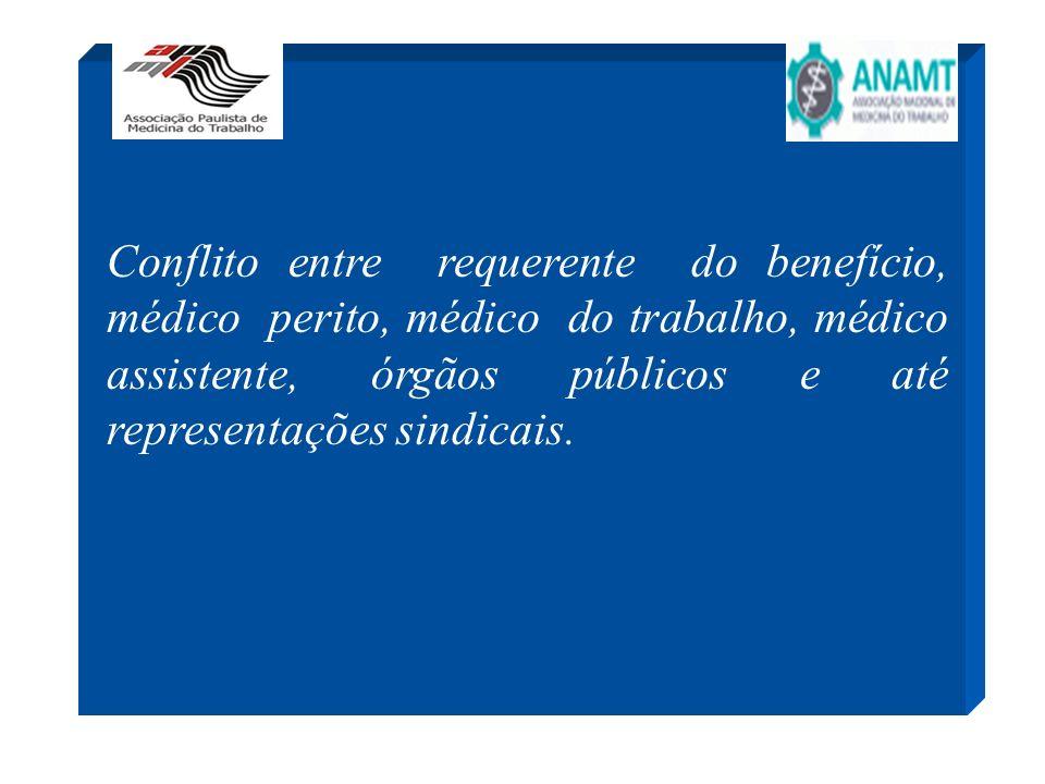 Conflito entre requerente do benefício, médico perito, médico do trabalho, médico assistente, órgãos públicos e até representações sindicais.