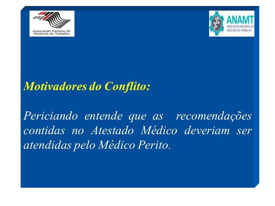 Motivadores do Conflito: Periciando entende que as recomendações contidas no Atestado Médico deveriam ser atendidas pelo Médico Perito.