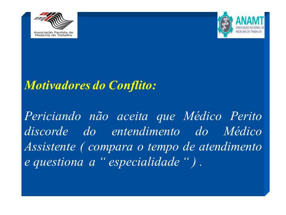 Motivadores do Conflito: Periciando não aceita que Médico Perito discorde do entendimento do Médico Assistente ( compara o tempo de atendimento e ques