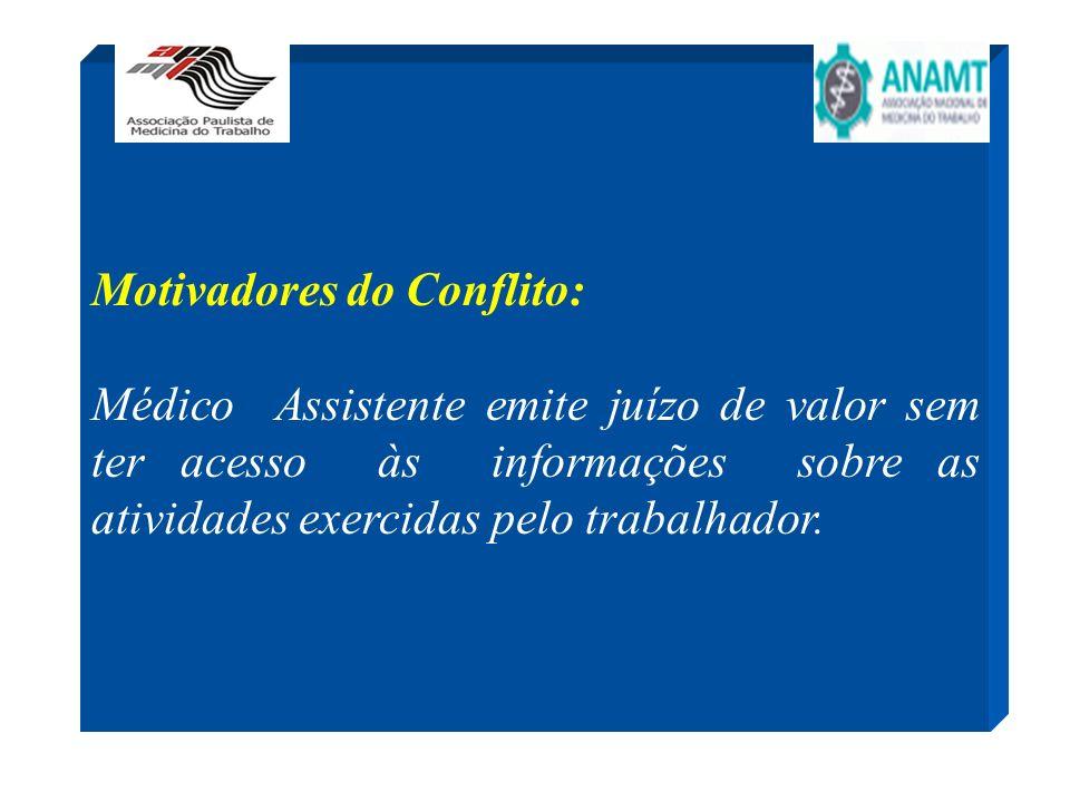 Motivadores do Conflito: Médico Assistente emite juízo de valor sem ter acesso às informações sobre as atividades exercidas pelo trabalhador.