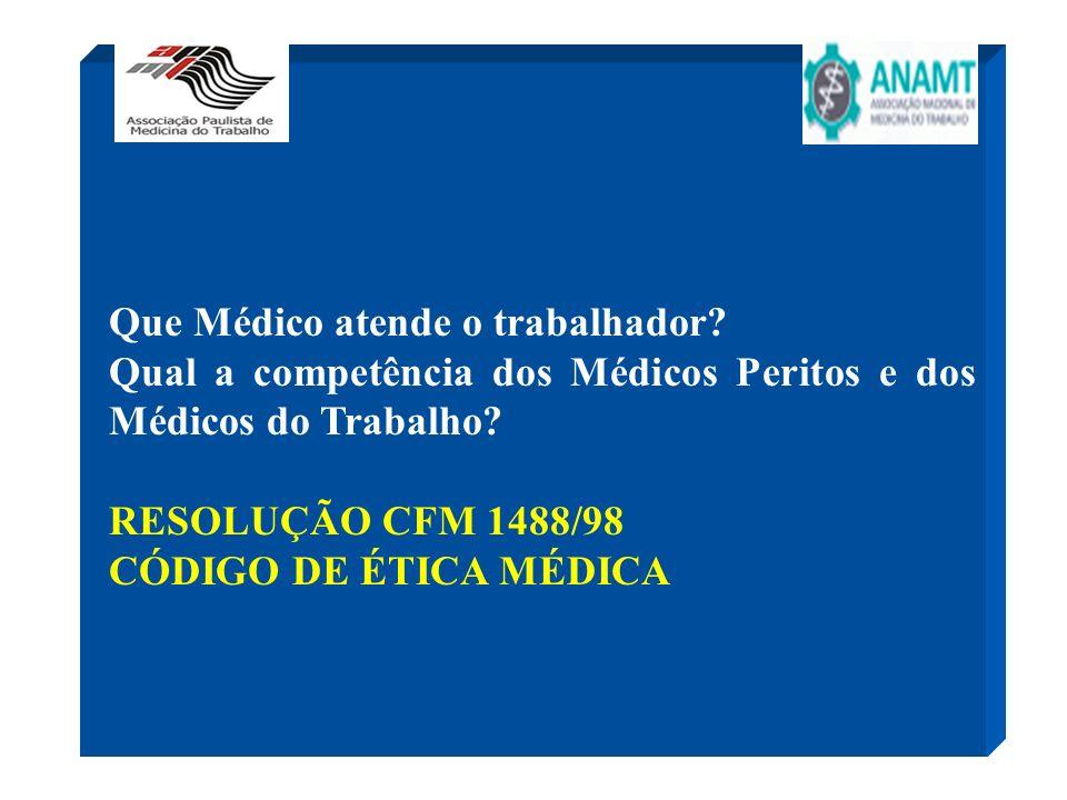 Que Médico atende o trabalhador? Qual a competência dos Médicos Peritos e dos Médicos do Trabalho? RESOLUÇÃO CFM 1488/98 CÓDIGO DE ÉTICA MÉDICA