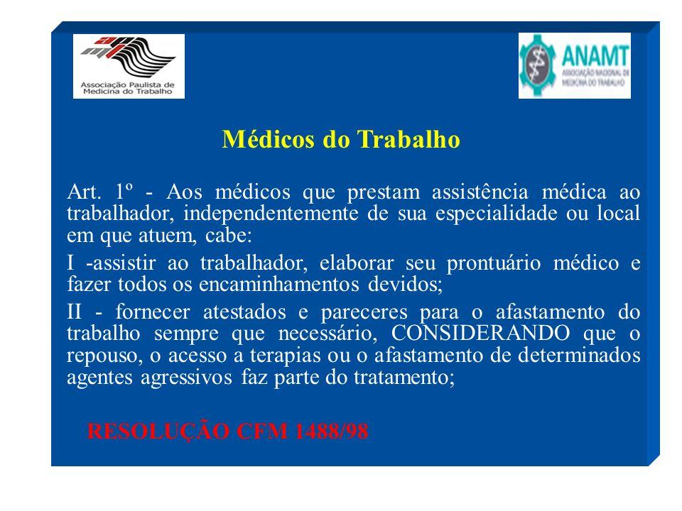 Médicos do Trabalho Art. 1º - Aos médicos que prestam assistência médica ao trabalhador, independentemente de sua especialidade ou local em que atuem,