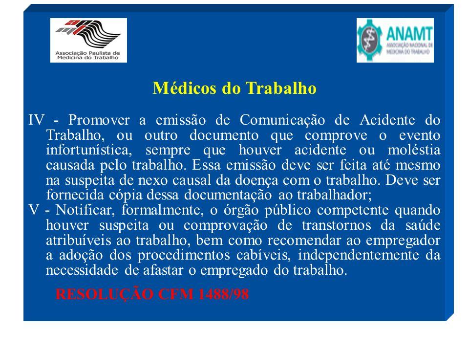 Médicos do Trabalho IV - Promover a emissão de Comunicação de Acidente do Trabalho, ou outro documento que comprove o evento infortunística, sempre qu