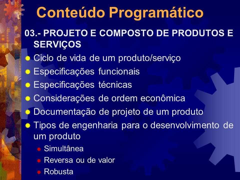Conteúdo Programático 03.- PROJETO E COMPOSTO DE PRODUTOS E SERVIÇOS Ciclo de vida de um produto/serviço Especificações funcionais Especificações técn