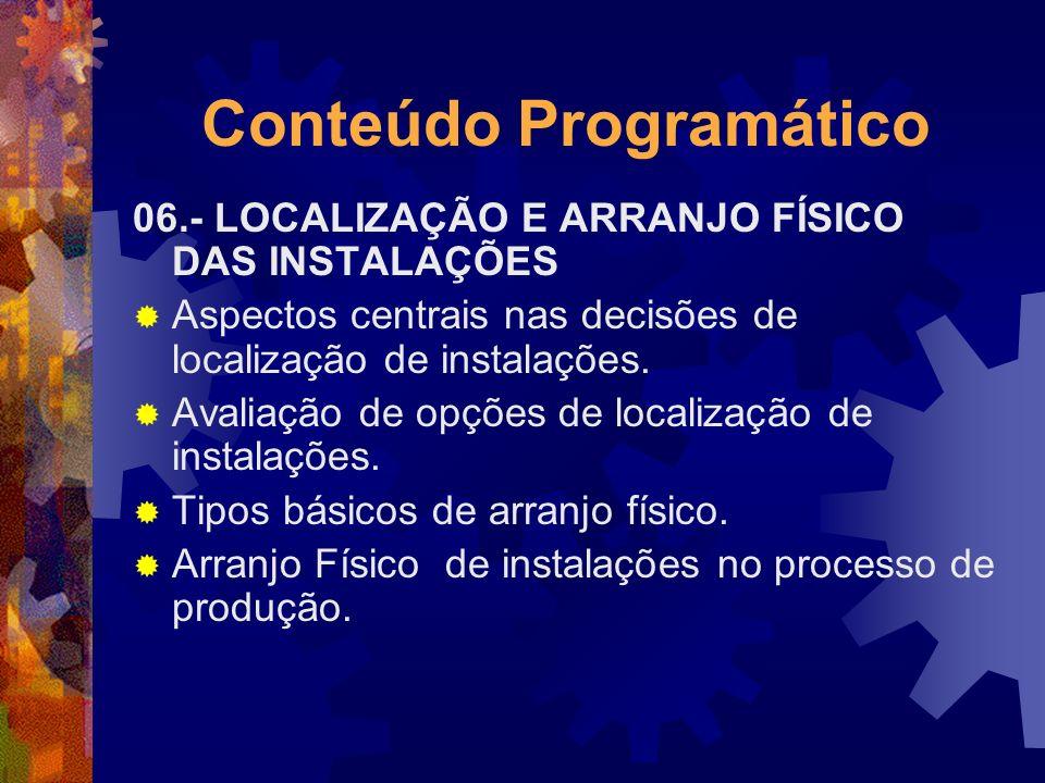 Conteúdo Programático 06.- LOCALIZAÇÃO E ARRANJO FÍSICO DAS INSTALAÇÕES Aspectos centrais nas decisões de localização de instalações. Avaliação de opç