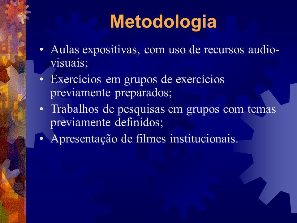 Metodologia Aulas expositivas, com uso de recursos audio- visuais; Exercícios em grupos de exercícios previamente preparados; Trabalhos de pesquisas e