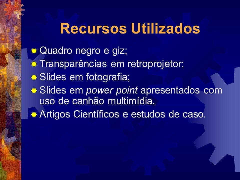 Recursos Utilizados Quadro negro e giz; Transparências em retroprojetor; Slides em fotografia; Slides em power point apresentados com uso de canhão mu