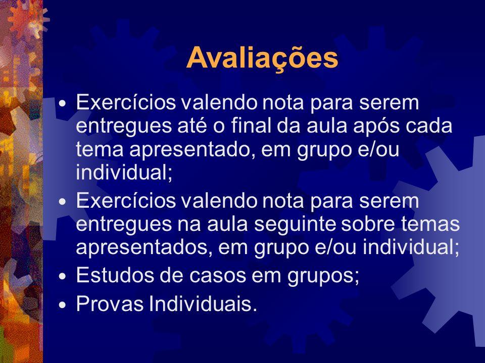 Avaliações Exercícios valendo nota para serem entregues até o final da aula após cada tema apresentado, em grupo e/ou individual; Exercícios valendo n