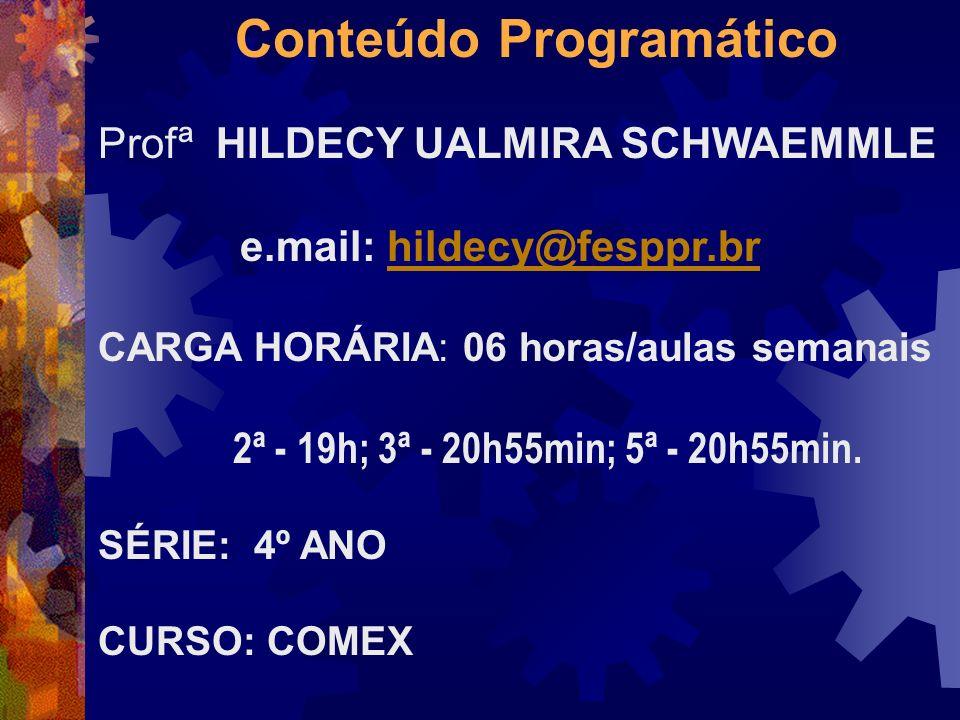 Conteúdo Programático Profª HILDECY UALMIRA SCHWAEMMLE e.mail: hildecy@fesppr.brhildecy@fesppr.br CARGA HORÁRIA: 06 horas/aulas semanais 2ª - 19h; 3ª