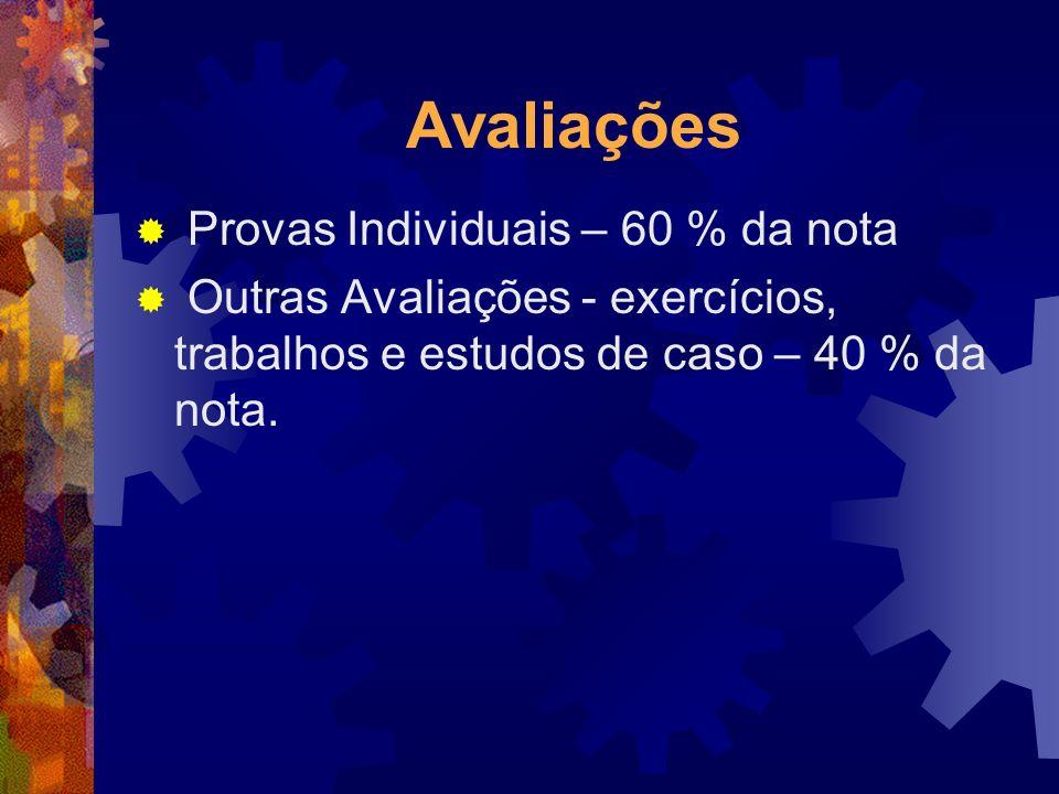 Avaliações Provas Individuais – 60 % da nota Outras Avaliações - exercícios, trabalhos e estudos de caso – 40 % da nota.