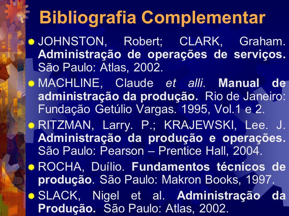 Bibliografia Complementar JOHNSTON, Robert; CLARK, Graham. Administração de operações de serviços. São Paulo: Atlas, 2002. MACHLINE, Claude et alli. M